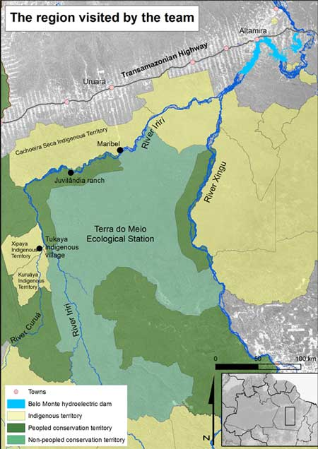A map of the EsecTM, Terra do Meio Ecological Station and surroundings on the Iriri River. In this article, the team travelled as far upriver as Maribel. Map by Mauricio Torres
