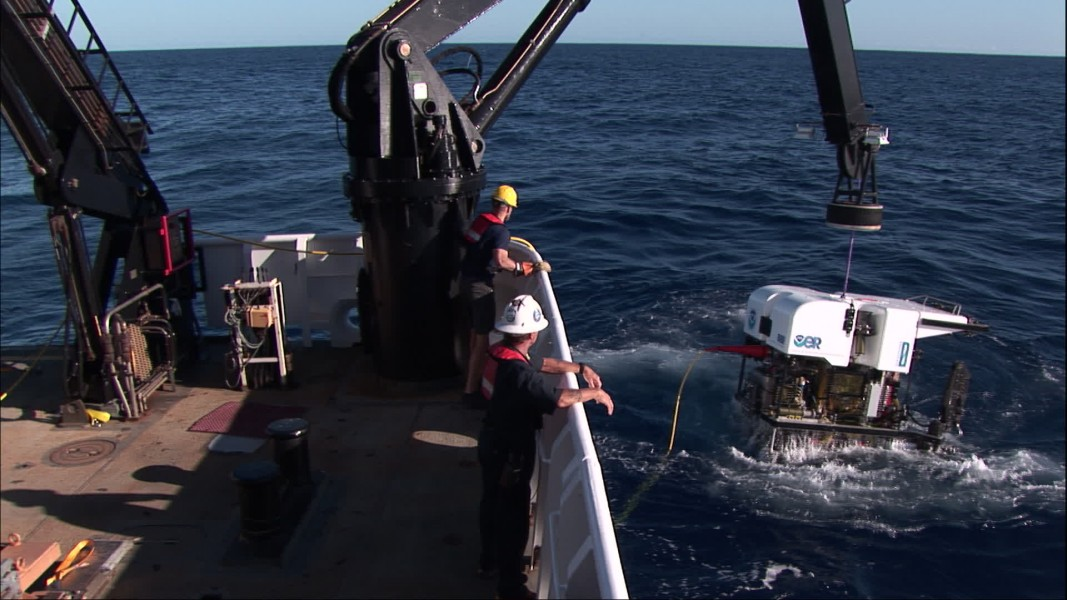 ROV Deep Discoverer is recovered after the first successful dive of the expedition by NOAA's Okeanos Explorer. Courtesy of NOAA