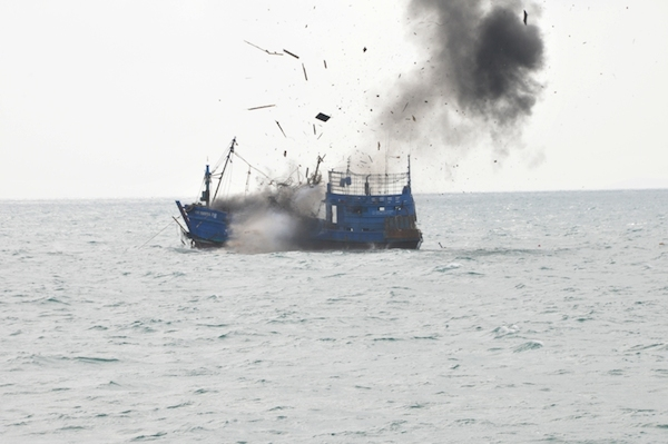 Susi Pudjiastuti's fisheries ministry has been seizing illegal foreign fishing vessels like this one and blowing them up at sea. Photo courtesy of the ministry