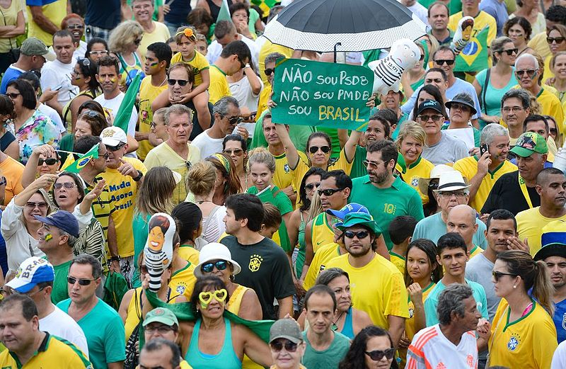 On March 13, 2016 more than a million Brazilians took to the street to protest massive corruption born out of the close relationship between the federal government and Brazilian companies including Petrobrás (the state-run oil company), the Four Sisters (the nation's biggest construction companies), and other companies. Photo by Tânia Rêgo for Agência Brasil published under the Creative Commons Attribution 3.0 Brazil License