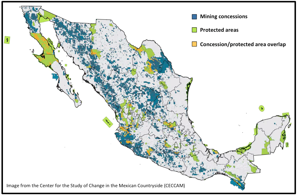 In several places in Mexico, mining concessions overlap with official protected areas.