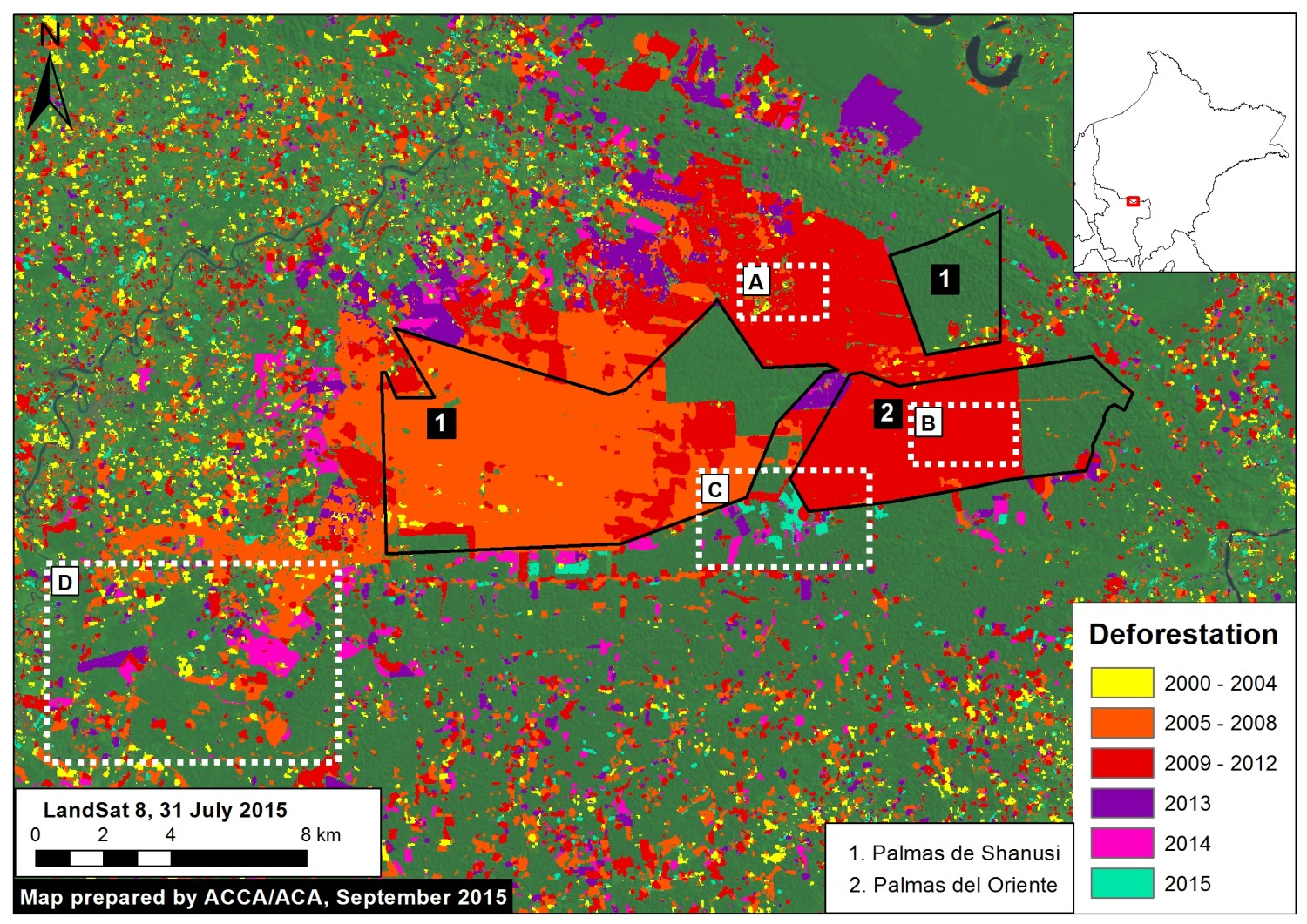 Deforestation within and around the two large-scale oil palm projects Palmas del Shanusi and Oriente. Data: PNCB, USGS, Grupo Palmas. Courtesy of MAAP.