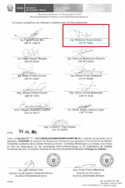 Directorate resolution that approved the IGAC with the signature of Prudencio Rivera, who had worked for Doe Run Peru.