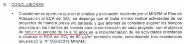Directorate resolution in which the Minam specialist recommends reducing the implementation of IGAC from 14 to 10 years.