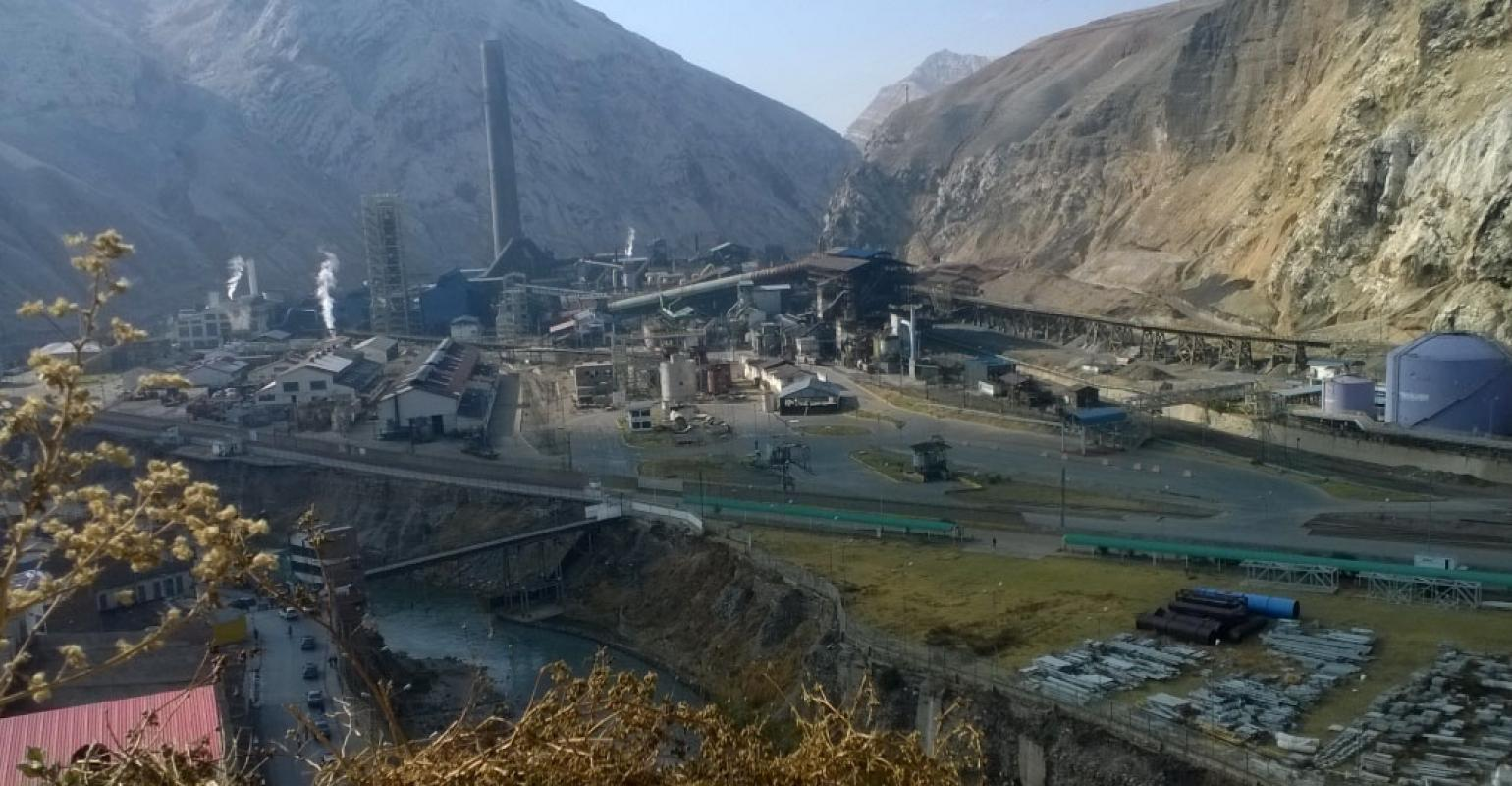 Panoramic view of La Oroya Metallurgical Complex. Materials for the plant's copper circuit
