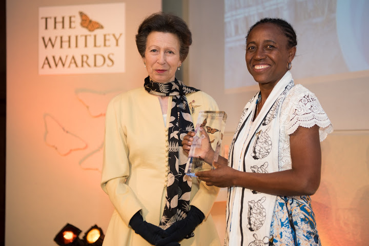 The Princess Royal and 2016 Whitley Awards 2016 recipient Juliette Velosoa at The Royal Geographical Society, London, 27th April 2016. Photo courtesy of Whitley Fund for Nature.