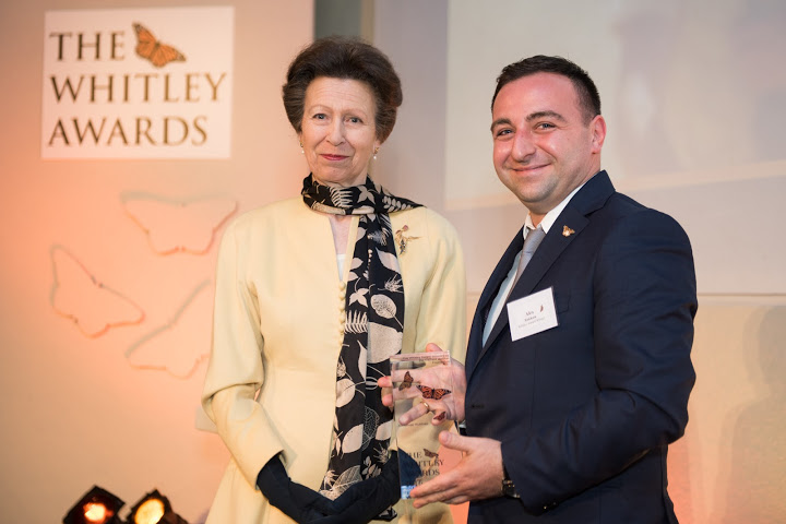 The Princess Royal and 2016 Whitley Awards 2016 recipient Alexander Rukhaia at The Royal Geographical Society, London, 27th April 2016. Photo courtesy of Whitley Fund for Nature.
