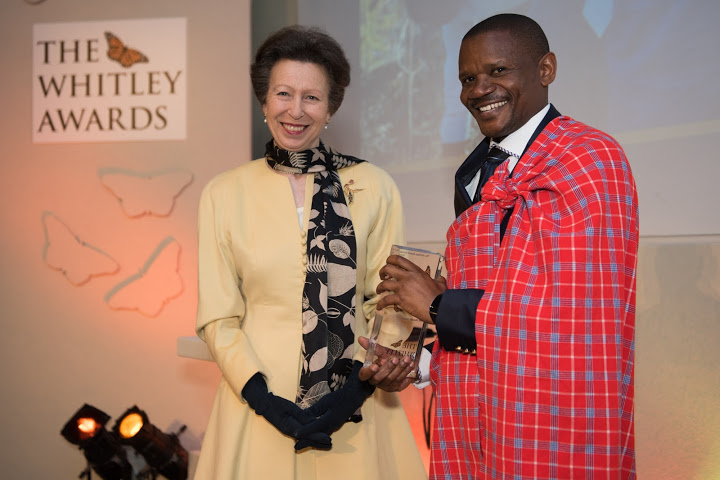 The Princess Royal and 2016 Whitley Awards 2016 recipient Makala Jasper, Tanzania at The Royal Geographical Society, London, 27th April 2016. Photo courtesy of Whitley Fund for Nature.