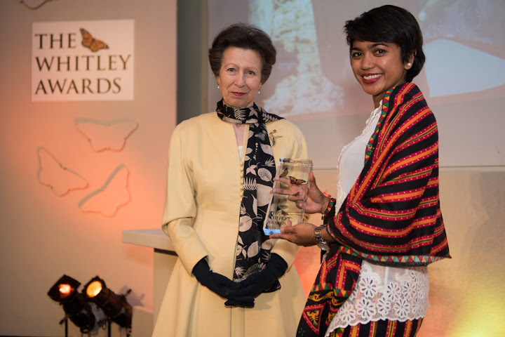 The Princess Royal and 2016 Whitley Awards 2016 recipient Farwiza Farhan, Indonesia at The Royal Geographical Society, London, 27th April 2016. Photo courtesy of Whitley Fund for Nature.