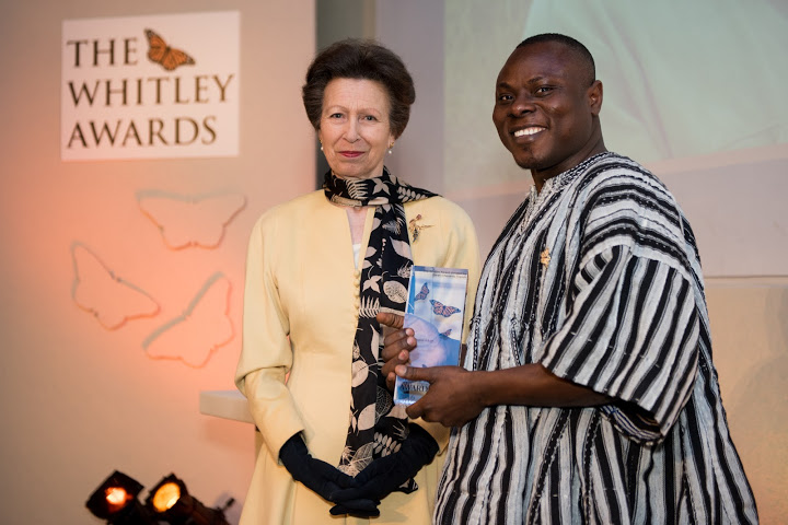 The Princess Royal and 2016 Whitley Awards 2016 recipient Gilbert Baase Adum, Ghana at The Royal Geographical Society, London, 27th April 2016. Photo courtesy of Whitley Fund for Nature.