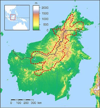 Map showing rough boundaries of the Heart of Borneo. Image by Elekhh/Wikimedia Commons.