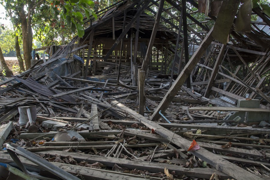 A house in Botum Sakor that community members say was demolished by security guards. Photo by Rod Harbinson.