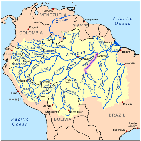 More than forty hydroelectric projects of varying size are planned for the Tapajós Basin. Among the biggest are 3 on the Tapajós River and 4 on its tributary the Jamanxim River — they would generate a combined total of 16,152 megawatts of electricity and create reservoirs covering 302,174 hectares (1,162 square miles). Map by Kmusser licensed under the Creative Commons Attribution-Share Alike 3.0 Unported license