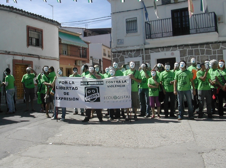 A 2012 protest in the town of El Gordo, Spain, denouncing violence against environmentalists. Activist Paca Blanco lived in the town at the time but left the next year as a result of harrassment, including attacks on her home with explosive devices. Photo courtesy of Ecologistas en Acción.
