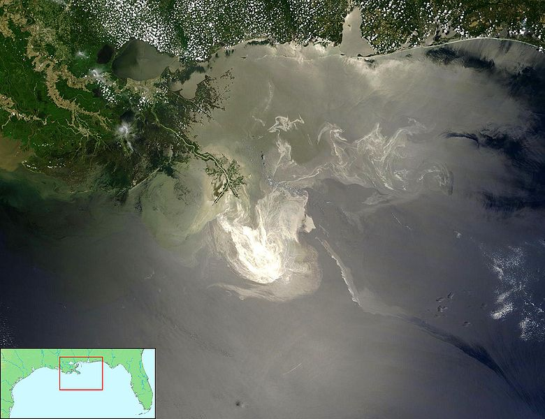 NASA's Terra Satellites Sees Spill on May 24 Sunlight illuminated the lingering oil slick off the Mississippi Delta on May 24, 2010. Photo by NASA/GSFC/Public Domain.