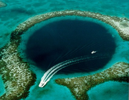 The Great Blue Hole, a World Heritage site recently opened to licensed and unlimited shark fishing by the Bilizean government. shark fishing. Photo courtesy of USGS