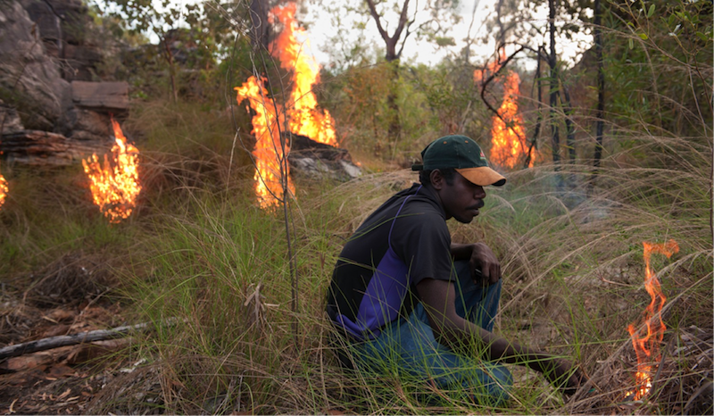 Traditional Owner Ray Nadjamerrek demonstrates traditional fire management in West Arnhem Land Australia. Photo courtesy of United Nations University.