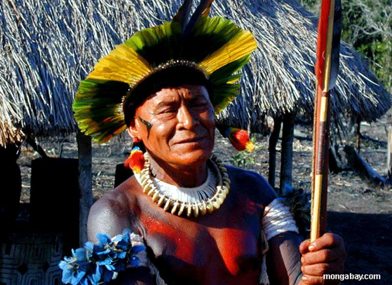 A Kaiapo medicine man in the Amazon. New hydroelectric projects there, which are typically well funded by BNDES have a history of disrupting traditional indigenous cultures, according to critics, either with the dam, reservoir and transmission lines themselves, or with the deforestation, roads, logging, mining, population growth and urbanization that often follows. Photo by Rhett A. Butler