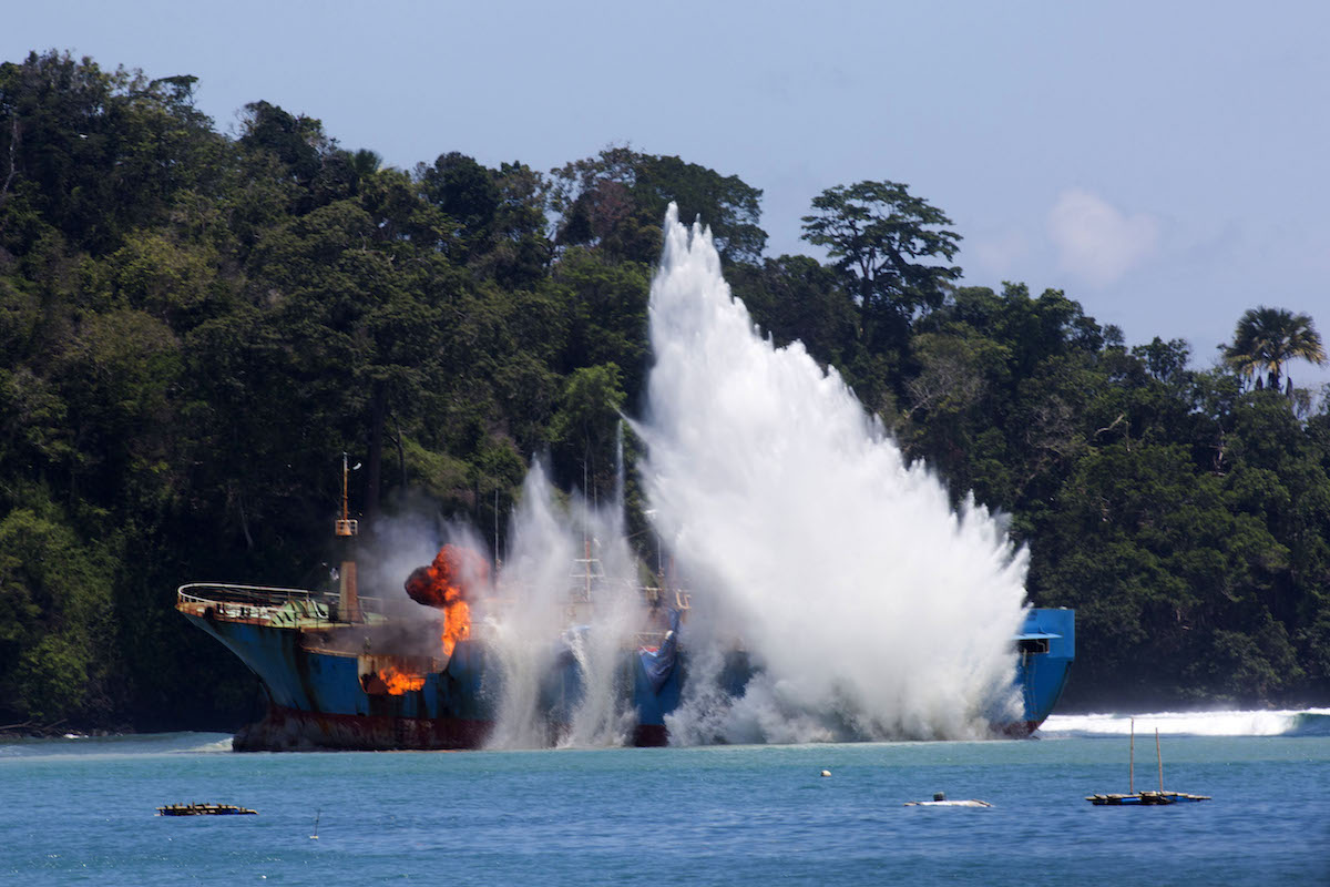 The Viking explodes in Pangandaran, West Java, Indonesia, on March 14. Photo by Gary Stokes/Sea Shepherd Global.