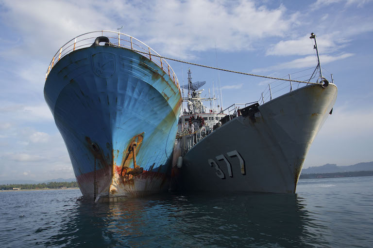 The Viking, alongside an Indonesian Navy vessel. Photo by Gary Stokes / Sea Shepherd Global.