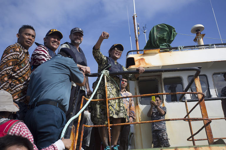Indonesian Fisheries Minister Susi Pudjiastuti on board the Viking, prior to its destruction. Photo by Gary Stokes/Sea Shepherd Global.