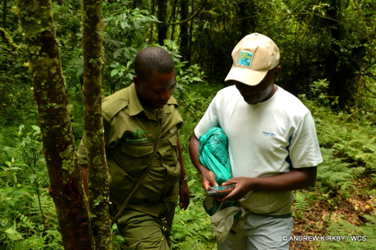 Mitamba training rangers in GPS use. Photo courtesy of Andrew Kirkby / WCS.