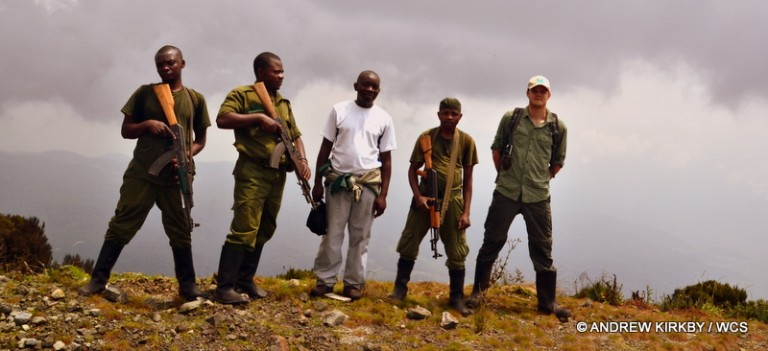 WCS Andrew Kirkby and Guillain Mitamba with ICCN rangers. Photo courtesy of Andrew Kirkby / WCS.