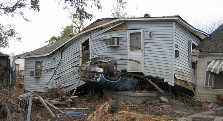 Hurricane Katrina damage to New Orleans 9th Ward. The just released USGCRP report notes that the poor will be especially impacted by climate change, with one effect being mental health problems such as trauma, anxiety and depression due to extreme weather events. Photo courtesy of Infrogmation of New Orleans GNU Free Documentation License, Version 1.2
