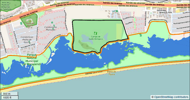 The Marapendi golf course (black outline) built within the Marapendi Natural Reserve for the 2016 Olympic Games in Rio de Janeiro, Brazil. Map © OpenStreetMap contributors, CC-BY-SA 2.0 / MotorOilStains