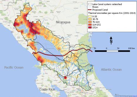 Figure 2. Thermal anomalies per square kilometer, 2001-2014 in Nicaragua