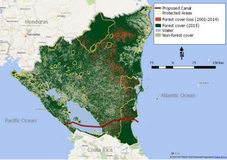 FIgure 1. Loss of forest coverage, 2001-2014 in Nicaragua
