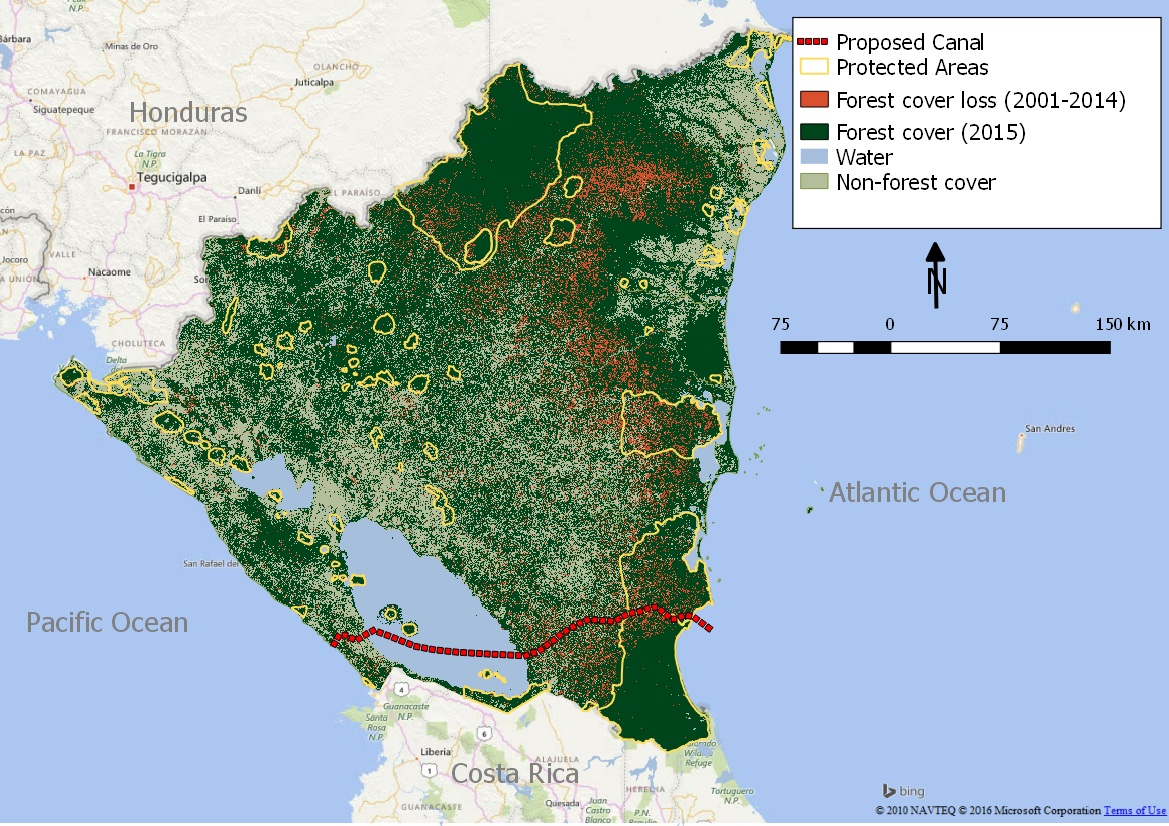 Costa Rica Population Density Map%0A FIgure    Loss of forest coverage           in Nicaragua
