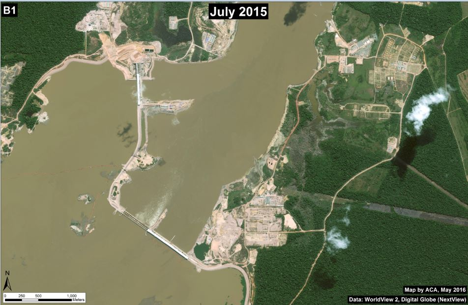 The Jirau dam cuts across the Madeira River in western Brazil. Image courtesy of Monitoring the Andean Amazon Project.
