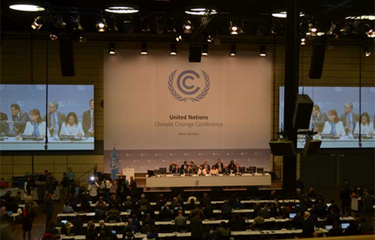 The opening session at the Bonn climate conference. Photo by Justin Catanoso