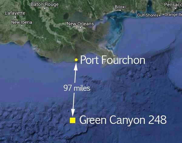 The oil spill occurred some 97 miles south of Port Fourchon off the Louisiana coast. Map courtesy of BSEE.