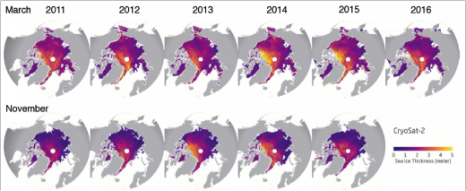 sea ice condition comparison 2011 - 2016