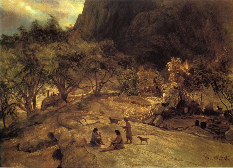 Mariposa Indian Encampment, Yosemite Valley, California, by Albert Bierstadt ca. 1872. Image courtesy of Wikimedia Commons.