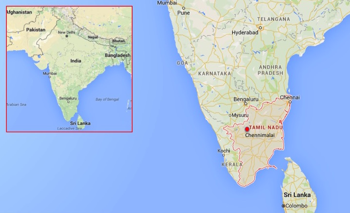 Map shows approximate location of Chennimalai in Tamil Nadu, India. Map courtesy of Google Maps.