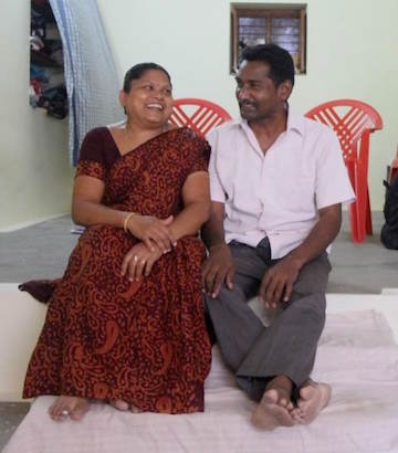 S. Mugilan and his wife, M. Poongkodi, at their home in Chennimalai, Tamil Nadu. Photo by Sibi Arasu.