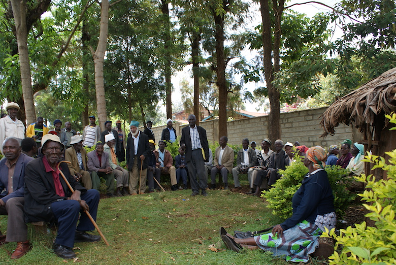 Members of the Atiriri Bururi ma Chuka community group during a recent meeting in Tharaka Nithi County in the central part of Kenya, to lobby against illegal logging. Photo by David Njagi.