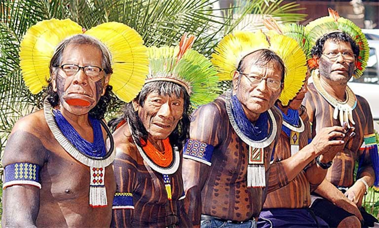 Indigenous Brazilian chiefs from the Kaiapos tribe livinf in the Xingu River basin Photo by Valter Campanato, courtesy of Agência Brasil