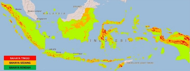 A map of Indonesia shows at-risk areas for landslides in red. Image courtesy of the National Disaster Mitigation Agency