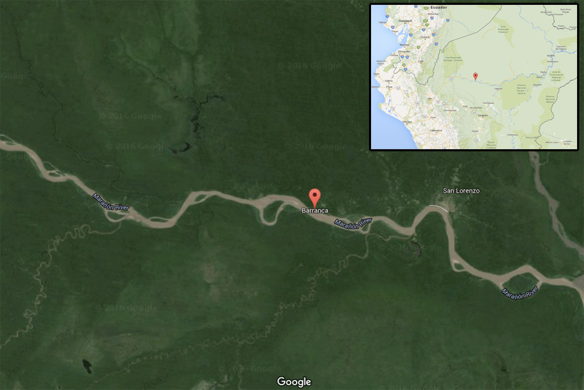 Google Map showing location of Barranca, Peru.