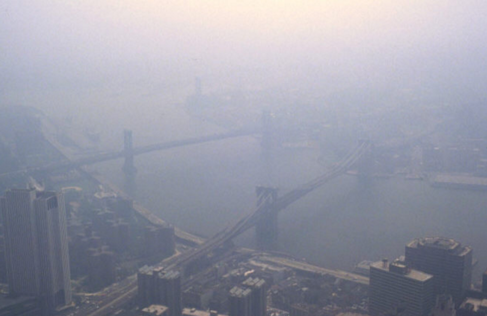 Smog in New York city. Photo from Wikimedia Commons. Public Domain.