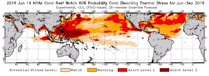NOAA Coral Reef Watch satellite data shows continued bleaching through September 2016. Image courtesy of NOAA.