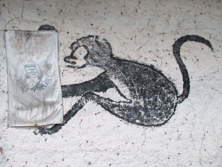 A faded fabric Guatemalan coat of arms hangs next to a painting of a spider monkey on the wall of one of the little buildings used by Carmelita community guides at Mirador. Photo by Sandra Cuffe.
