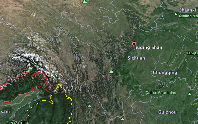 Map shows Jiuding Mountain in China's Sichuan Province. Map courtesy of Google Earth.