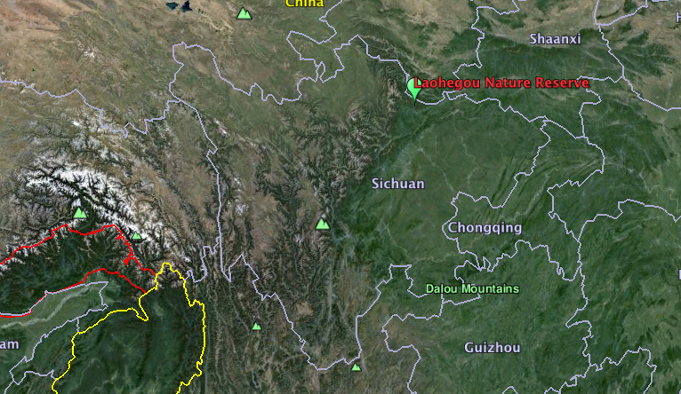 Map shows Laohegou Nature Reserve in Sichuan province, China. Map courtesy of Google Earth.