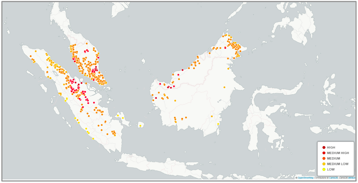 Indonesian and Malaysian palm oil mills ranked by their risk level of associated deforestation. Image courtesy of World Resources Institute.