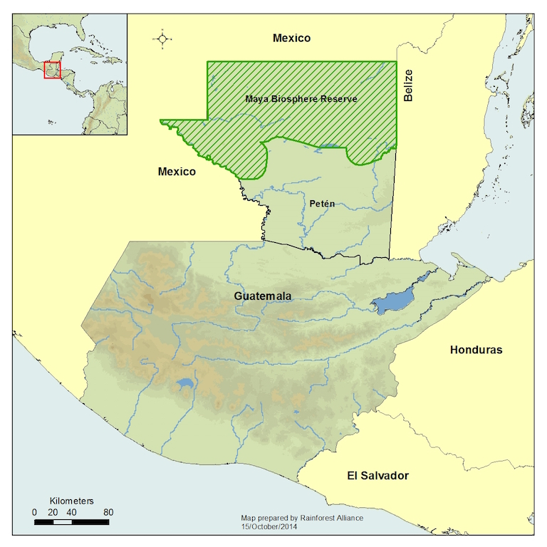 A map of Guatemala shows the shows the location of the Maya Biosphere Reserve, which covers about one-fifth of the country's area. Map courtesy of the Rainforest Alliance.